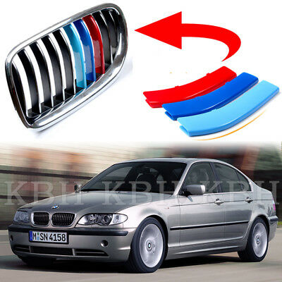 Fits BMW 3 Series E46 Facelift 02-04 Kidney Grille M Color Cover Stripe Clip