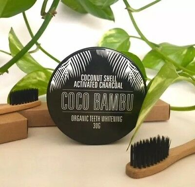 Activated Charcoal Powder➕ Bamboo Toothbrush Teeth Whitening Powder ✅