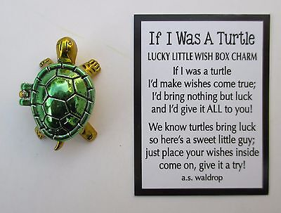 a green IF I WAS A TURTLE Lucky Little Wish Box Charm good luck ganz figurine