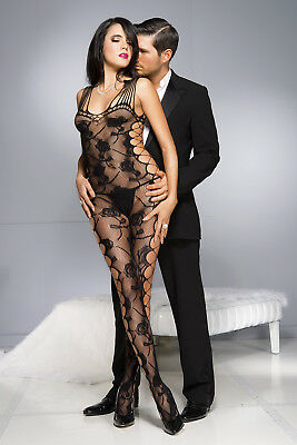 Women Sexy Cut-out Side Rose Pattern Bodystocking Intimate Bedtime Lady Stocking