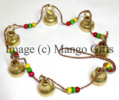 Hanging Bells Ghanti Brass Mobile Decorative 7 Bell String Indian Style Wall