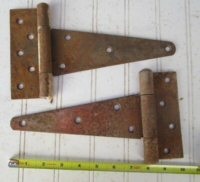 "Vintage 2 Barn Door Gate 10"" T STRAP BUTT HINGES Rustic Rusty Decor"