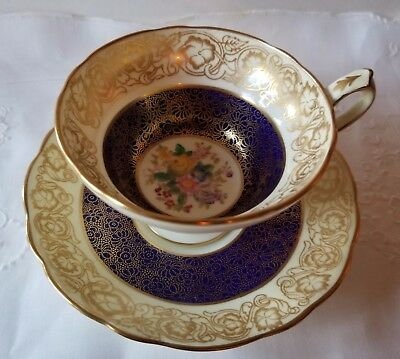 Hammersley & Co. Rare Cobalt Blue & Gold Bone China Cup & Saucer Set - 1887-1912