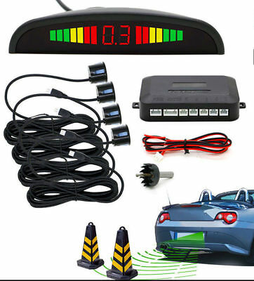 Black - Parking Sensor Rear 4 Sendors LCD Display Audio Buzzer Alarm