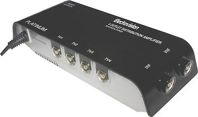 Aerial Signal Booster 4 Way VHF/UHF Distribution Amplifier TV FREEVIEW