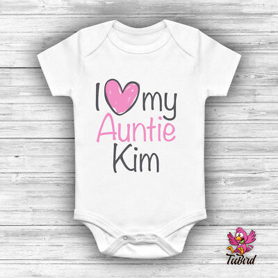 Personalised 'I love my Auntie' Bodysuit Baby Grow Vest Funny Babygrow Gift