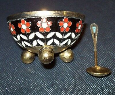 solid 916 SILVER RUSSIAN ENAMEL ,SALT CELLAR with spoon  Saliera argento Russia