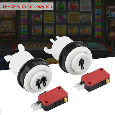 2Pcs Start Button Switch Kit 1P & 2P Player Push Button Arcade Games Replacement