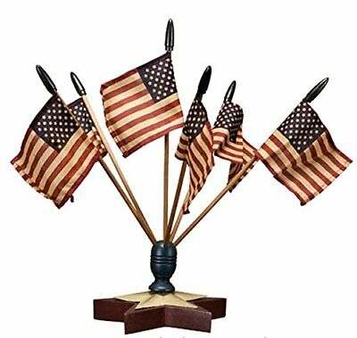Patriotic American Star Finial Display with Flags 4th of July Decoration Holiday