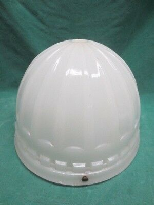 Antique Ceiling Fixture Globe Shade - Very Heavy 3-chain Milk Glass