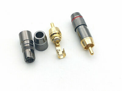 4 Pcs Copper RCA Plug Gold Plated  Audio Video Adapter Connector
