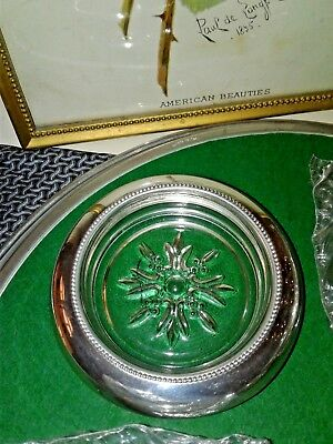 Vintage Godinger Silver plate and Crystal SET Of Four Coasters Ashtrays New