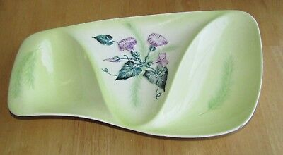 VINTAGE CARLTON WARE 3 SECTION GREEN HAND PAINTED NIBBLES DISH Australian Design