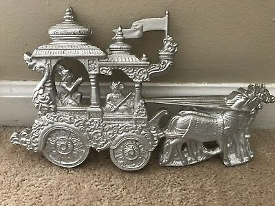 Vintage Stage Coach Cast Aluminum Iron Antique Door Stop Silver Detailed Horses