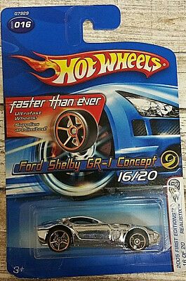 2005 Hot Wheels First Editions #16 Ford Shelby GR-1 Concept Relistix Chrome (2D3
