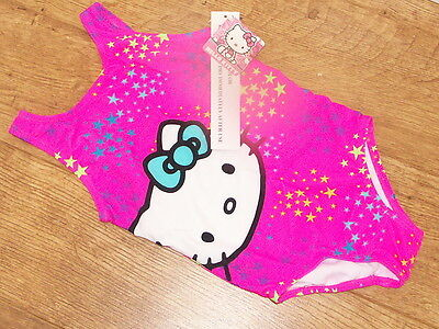 BNWT Hello Kitty  Girls' neon pink One Piece Swimsuit  4 SIZES AGE 4/5/6/7