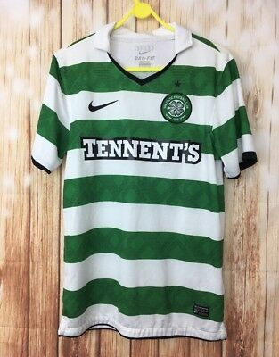 Men's Nike Celtic FC Official SS Green White Striped Football Polo Shirt Small