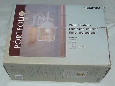 New Open Box Portfolio Outdoor Wall Lantern Kit 0048184 White Finish Frost Glass