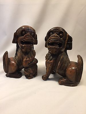 Pair Of Chinese Japanese Asian Foo Fu Dog Lion Statues Figurines Carved Wood