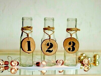 Glass Hessian table numbers 1-100 Log Heart Rustic Wedding Party Vintage Vase
