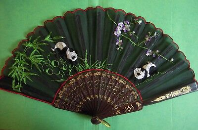 Panda Bear Embroidered Fabric Hand Fan