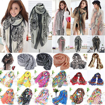 Floral Retro Ladies Soft Long Neck Large Scarf Wrap Shawl Women Stole Scarves