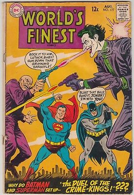 World's Finest #177 Dc Comics Gd+ Condition Joker + Luthor Cover/story