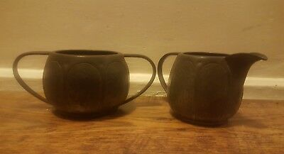 ANTIQUE ARTS AND CRAFTS HAND BEATEN PEWTER Milk jug and Sugar bowl