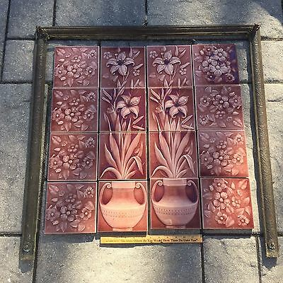 Nice Antique Victorian Brass Trim Piece ONLY Tile Fireplace Surround Floral Rose