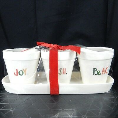 Rae Dunn Artisan Magenta Christmas Holiday Planter Set - WISH JOY PEACE in Ivory
