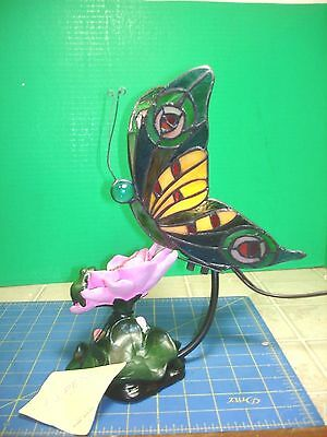 Tiffany Style Stained Glass Butterfly Night Lite Gorgeous Very Colorful New