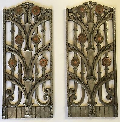 Stunning museum quality vintage Art Deco heat vents / grates with Copper accents