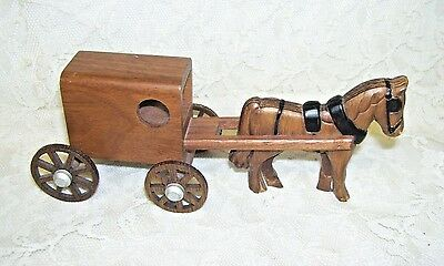 Handcrafted Wood Amish Horse and Buggy