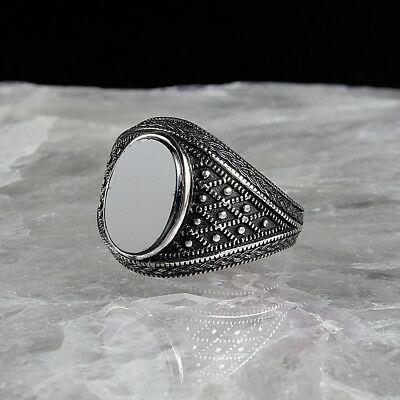 Handmade 925 SILVER Turkish rings Onyx stone for Men all sizes jewelry RRP £30