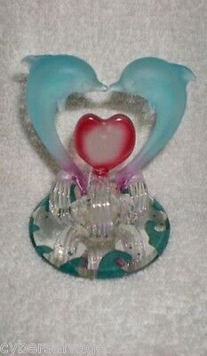 Lovers Dolphins 2 Blue Frosted Kissing Dolphins Between Red Heart On Wave