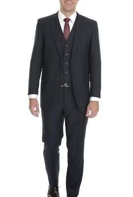 Emigre Extra Slim Fit Solid Navy Blue Three Piece Suit With Ticket Pocket