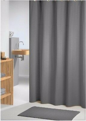 Clearance Charcoal Grey Fabric Shower Curtain 2m Long New FREE SHIPPING