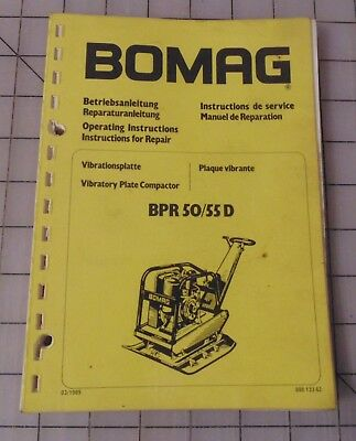 Bomag Bpr50/55D Operating Instructions, Instructions For Repair, Plate Compactor