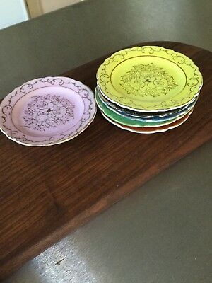 Vintage Japanese Hand Painted Porcelain Tea Plates / Coasters Gold Trim set of 6