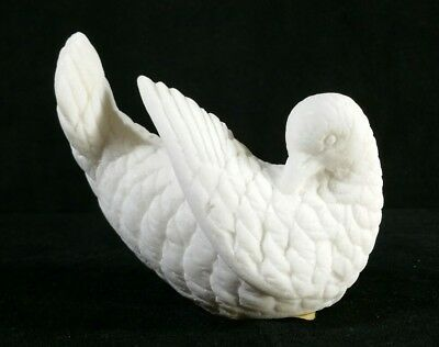 """Vintage Italian Carved White Dove Molded Marble Composite Figure 4.5"""" EXC"""