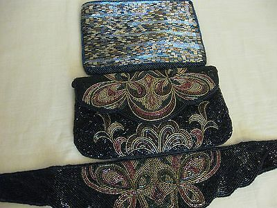 Vintage Made In China Beaded Purses And Matching Belt