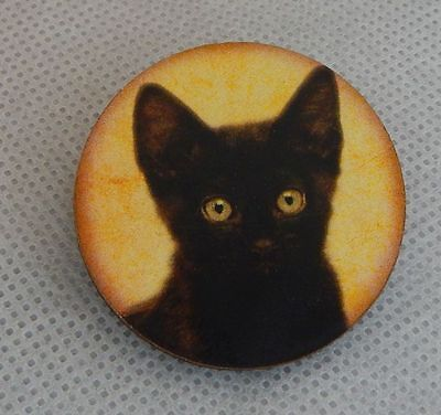 Black Cat Face Moon Brooch or Scarf Pin Wood Accessories Fashion NEW Multi-Color