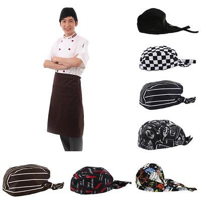 2pcs Fashion Chefs Hat Cap Kitchen Catering Skull Cap Ribbon Cap Turban