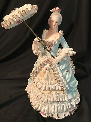 Vntg Stunning Elegant Dresden Style Porcelain Lace Lady with Parasol