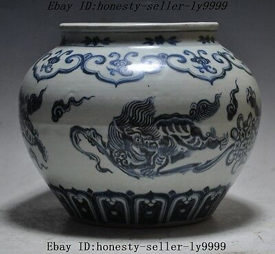 """9"""" A Chinese Blue and white porcelain foo dog lion beast statue pot tanks bottle"""