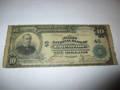$10 1902 Ellenville New York NY National Currency Bank Note Bill Ch. #45 RARE!