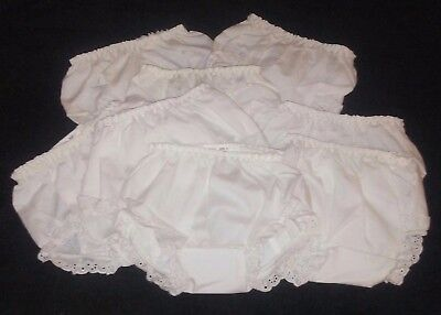 NEW White Lace Edged Baby Diaper Cover Bloomers, Elastic Waist, 0-6 Months