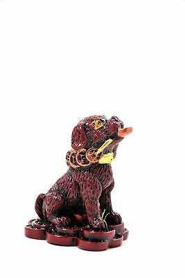 2018 Chinese Year Of Dog Horoscope Zodiac Handmade  Mini Red Gold Resin Figurine