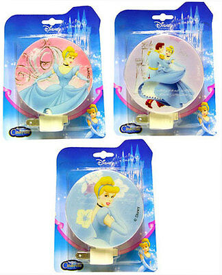 3 DISNEY PRINCESS CINDERELLA CHILDREN' NIGHT LIGHT LAMP PLUG IN w BULB
