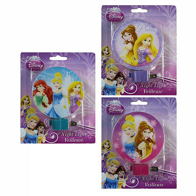 3 DISNEY PRINCESS PRINCESS CHILDREN' NIGHT LIGHT LAMP PLUG IN w BULB